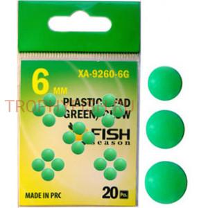 Бусина пластиковая, диам. 6 мм., зелёная со светонакопителем (упак. 20 шт.)