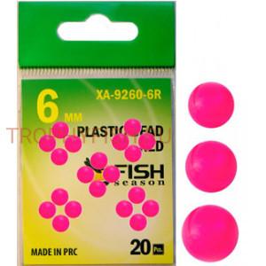 Бусина пластиковая, диам. 6 мм., красная (упак. 20 шт.)